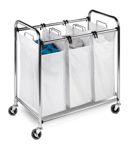 Honey-Can-Do SRT-01235 Heavy-Duty Triple Laundry Sorter ChromeWhite