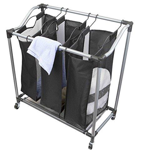 Sunbeam Heavy Duty Triple Laundry Hamper Sorter Rolling with Wheels Black