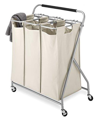 Whitmor 3-Bag Triple Laundry Sorter Tan
