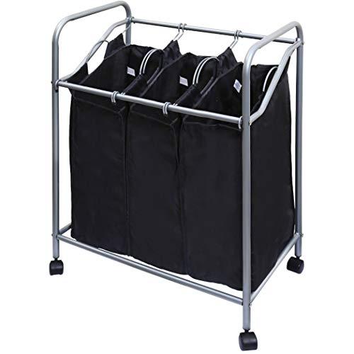 YBM Home Black Stainless Steel Triple Laundry Sorter Hamper Metal