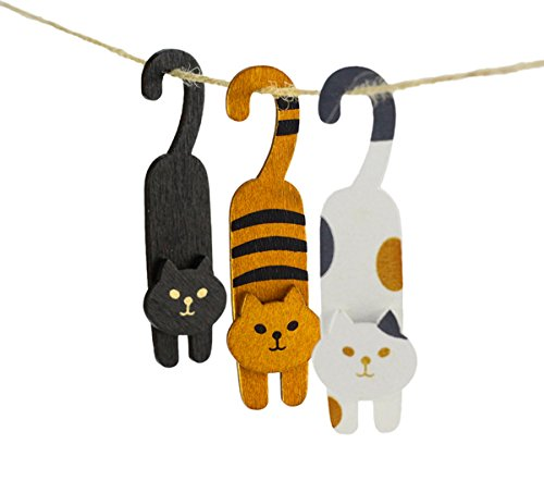 BeeChamp 3pcs Mini Wooden Cute Cat Laundry Hooks Clothes Pins Hanging Clips Pack of 3