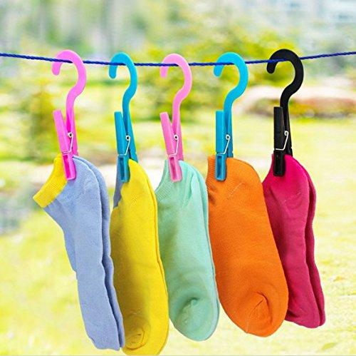 Stock Show 24Pcs Multipurpose Hanging Clothes Pins Laundry Bra Socks Underwear Hanger Hook ClipsRandom Color