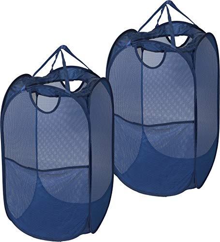 2 Pack - SimpleHouseware Mesh Pop-Up Laundry Hamper Basket with Side Pocket Dark Blue