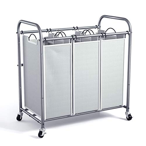 ROMOON Laundry Sorter 3 Bag Laundry Hamper Sorter with Rolling Heavy Duty Casters Laundry Organizer Cart for Clothes Storage Gray