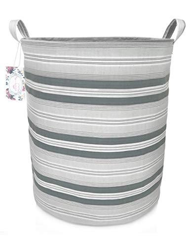 TIBAOLOVER 197 Large Sized Waterproof Foldable Canvas Laundry Hamper Bucket with Handles for Storage BinKids RoomHome OrganizerNursery StorageBaby Hamper Gray Stripe