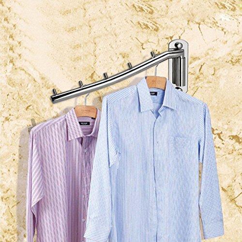 Clothes Hanger Rack HolderUlifestar Folding Wall Mounted Coat Hooks Stainless Steel Garment Rack Clothing Hanging Shelves Closet Organizer Hanger Drying Rack Bathroom Towel Hooks
