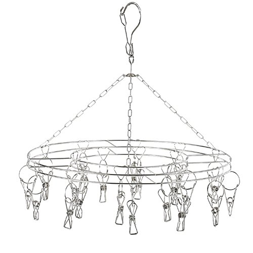 Makhry Stainless Steel Metal 20 Clips Drying Hanger Rack for Hanging Clothes Towels Shorts Underwears Socks Baby Clothes Round 20 clips