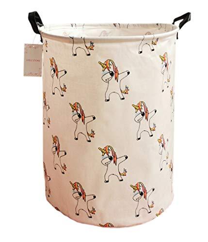 LEELI Canvas Storage Basket with Handle Collapsible Toy Bin Organizer for PlayroomToy RoomKids Toy Box LaundryNursery Hamper Unicorns
