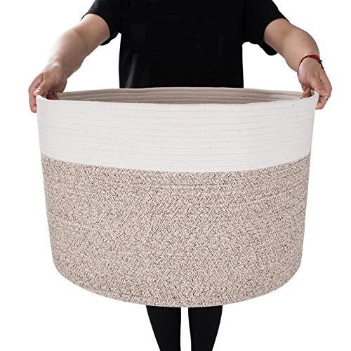 MINTWOOD Design XXXL Extra Large 22 X 22 X 14 Decorative Woven Cotton Rope Basket Laundry Basket Blanket Basket Baby Dog Toy Storage Baskets Bin Kid Laundry Hamper - NaturalHeathered Cream