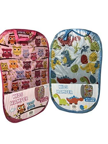 Regent Set of 2 Kids Pop-Up Laundry Hamper - Dinosaur and Owl