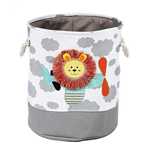 SOWATT Kids Laundry Hamper Toy Organizer Basket Baby Clothes Nursery Basket with Handles Collapsible Laundry Basket Lion