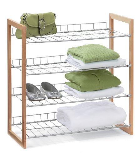 Honey-Can-Do SHO-01384 4-Tier Closet Accessory Shelf Wood Frame