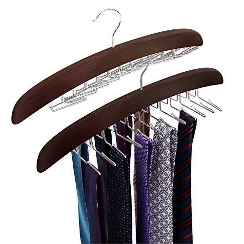Ohuhu Tie Hanger Tie Racks for Men Tie Hanger Organizer Tie Holders for Closet Rotating Twirl 24 Wooden Tie Rack Closet Accessory Organizer 2 Pack Walnut