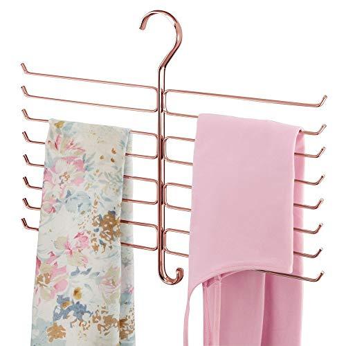 mDesign Metal Closet Rod Hanging Accessory Storage Organizer Rack for Scarves Ties Yoga Pants Leggings Tank Tops - Snag Free Geometric Design 16 Arms1 Hook - Rose Gold