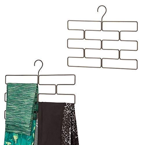 mDesign Modern Metal Closet Rod Hanging Accessory Storage Organizer Rack for Scarves Ties Yoga Pants Leggings Tank Tops - Snag Free Geometric Design 8 Sections 2 Pack - Bronze