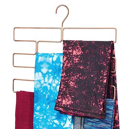 mDesign Modern Metal Closet Rod Hanging Accessory Storage Organizer Rack for Scarves Ties Yoga Pants Leggings Tank Tops - Snag Free Geometric Design 8 Sections - Rose Gold