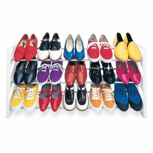 Lynk 15 Pair Convertible Shoe Rack Organizer - 3 Tier - Closet Shoe Rack - White