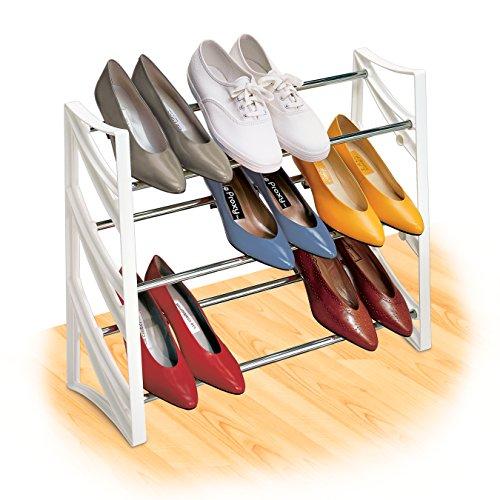 Lynk 9 Pair Convertible Shoe Rack Organizer - 3 Tier - Closet Shoe Rack - White