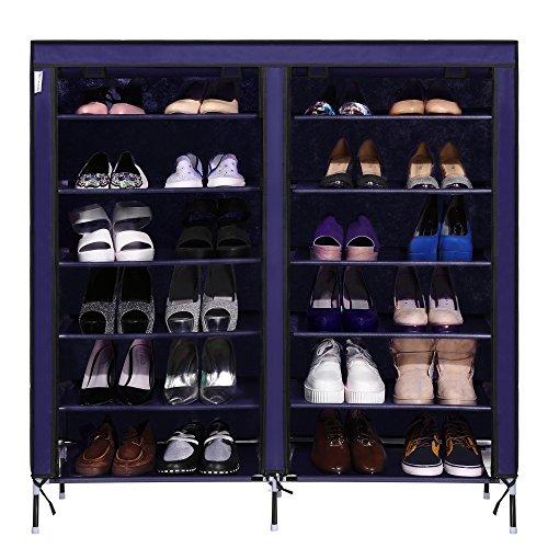 eshion 6 Layer 12 Grid Shoe Rack Shelf Storage Shoes Closet Organizer Cabinet Navy Blue