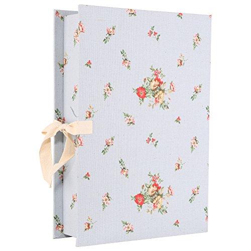 Neoviva Canvas Coating Paperboard Desktop File Box for Document Organization Watercolor Floral Forever Blue