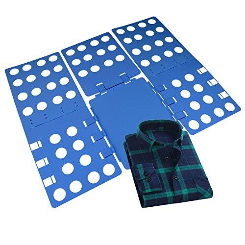 Clothes Folder-Yookat Clothes T Shirt Folder Plastic Shirt Folding Board Blue Adjustable Magic Fast Laundry Folder Flipfold Rack Organizer Easy Use for Shirts Dress Pants Towels Sweaters 4mm Thickness
