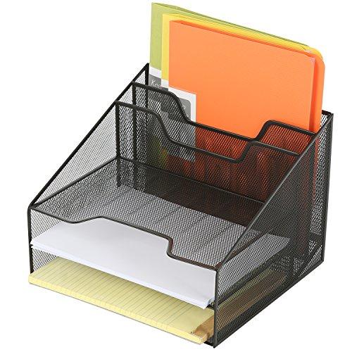 Deluxe Metal Mesh Desktop Document Holder with 3 Letter Tray and 2 Vertical File Folder Organizer Black