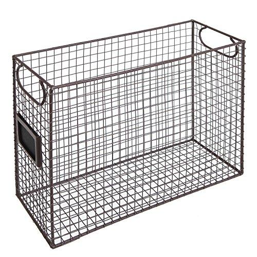 Mesh Wire Brown Metal Document Storage Container  Magazine Rack  File Folder Organizer w Label Holder