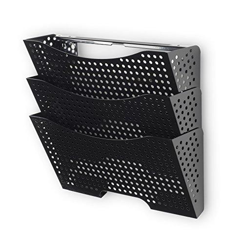 Wall File Holder Organizer Metal Modern Modular Design Metal 3 Storage Level Folders White Steel Durable Construction Black