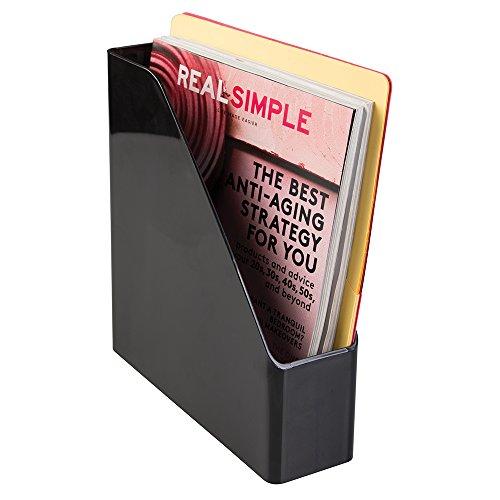 mDesign Desk Office Magazine File Folder Organizer - Black