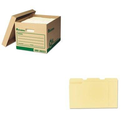 KITUNV12113UNV28223 - Value Kit - Universal Recycled Record Storage Box UNV28223 and Universal File Folders UNV12113