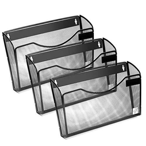 Wall Mount File Organizer for Storage Pocket File Holder Wall Basket Metal Mesh Office Home Mail Magazine Sorter Rack with Hardware 3 Pack
