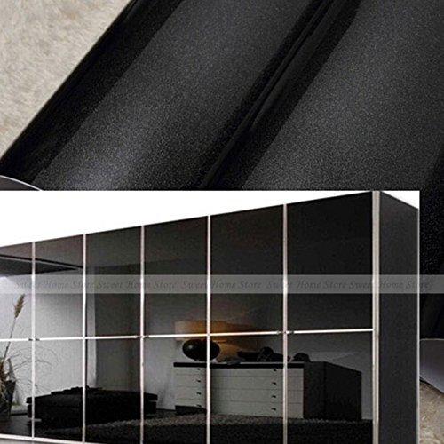 2016 NEW yazi Gloss Black Vinyl Contact Paper Kitchen Units Cupboard Door Wardrobe Cover Wallpaper 61x 250cm