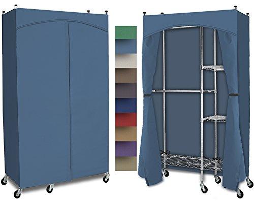 Portable Wardrobe Split Closet w Premium Cotton CanvasDuck Cover 72-75Hx48Wx18D Denim Blue