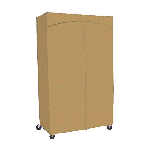 Premium Wardrobe Portable Closet Full Rod w 3 Shelves Rack Cover 18x48x72H Nutmeg