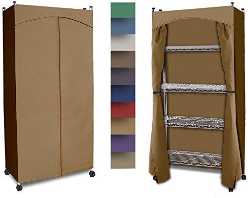 Wardrobe 5-Shelf Closet w Premium Cotton CanvasDuck Cover 60-625Hx30Wx14D Nutmeg