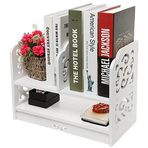 White Openwork Freestanding Book Shelf  Desk Top Organization Caddy  Stationary Storage - MyGiftÂ