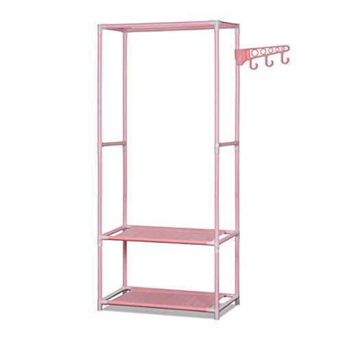 ALEKO SHE58PK Portable Garment Clothes Rack Shelves Organizer Wardrobe 58 Inches Tall Pink