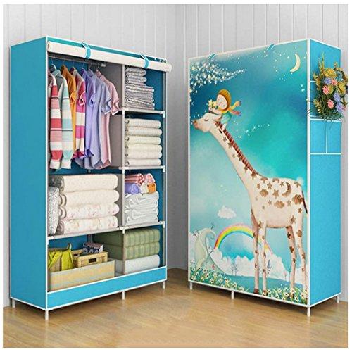 Asunflower Roll Up Closet Storage Organizer Clothes Wardrobe Rack Hanger with 5 Garment shelves for Kids - Giraffe