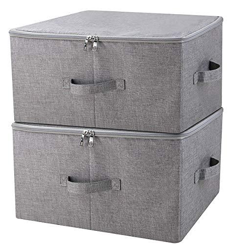 iwill CREATE PRO Folding Storage Box with Zip Lid and Handles Storage Basket with Linen Fabric Closet Shelf DrawersDark Gray 2 pcs