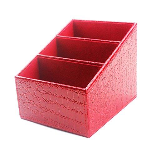Desk Supplies Organizer Caddy,3 Compartments PU Leather Multifunctional Office Desk OrganizerDesktop Stationery Storage Box CardPenPencilMobile PhoneRemote Control Holder Red