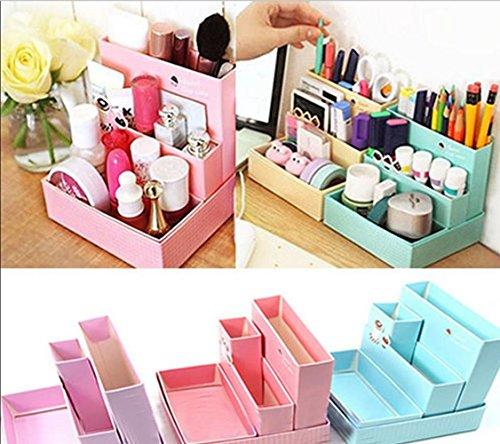 Yosoo Cute DIY Paper Board Makeup Cosmatic Storage Box Desk Decor Stationery Organizer Makeup Cosmetic Container Jewelry Storage Office Supplies Desktop Stationery Storage Boxcolor by random