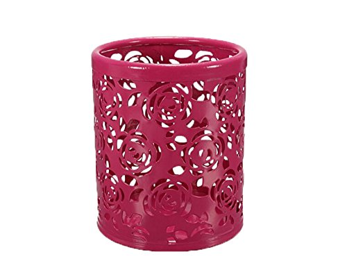 niceEshopTM Hollow Rose Flower Stationery Storage Box Metal Pen Pencil Cup Holder Desk Organizer Roseo