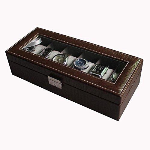 Six pack leather watch boxmechanical watch boxWatchlocking storage boxminimalist lovers bracelet-A