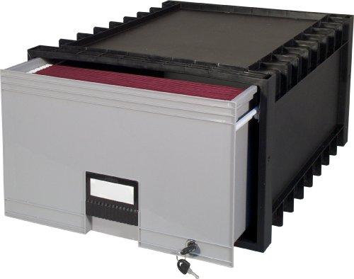 Storex 24-Inch Archive Locking Storage Box for Legal Size Files BlackGrey 61155U01C