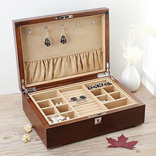 TRE Old Elm wood jewelry box Emerald jewellery storage box bracelet with locking storage box-A