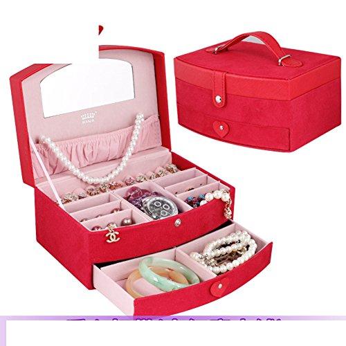 fashion jewelry boxEuropean style Korea locking storage boxVelvet jewelry boxjewel box-C