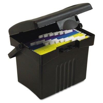 Storex Portable Storage Box Letter Size 14w x 11-14d x 14-12h Black