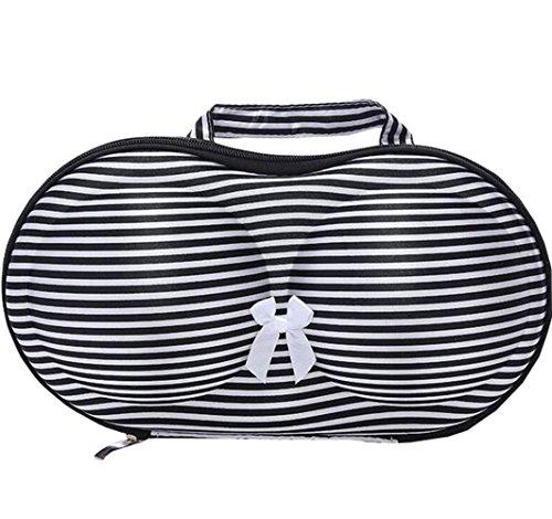 Suplove Womens portable travel underwear socks bra bag bra underwear storage box Black