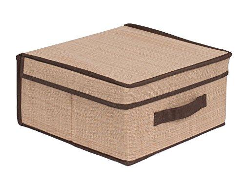Internets Best Storage Box with Handles  Durable Storage Bin Basket Containers  Clothes Nursery Toys Organizer  Brown Beige
