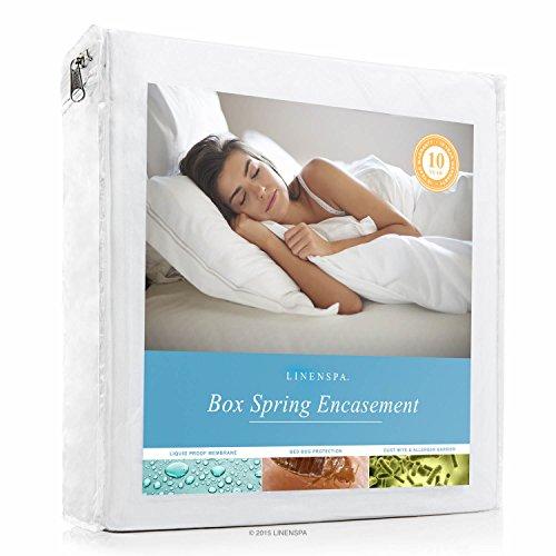 LINENSPA Waterproof Bed Bug Proof Box Spring Encasement Protector - Queen